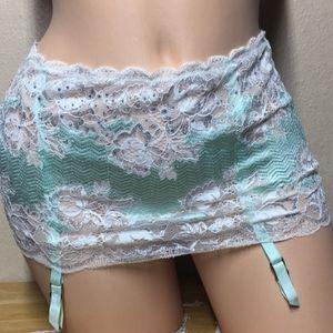 S Victoria's Secret Garter Skirt Thong Mint